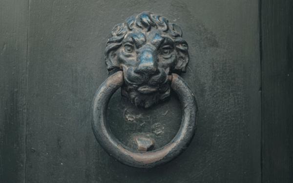 A picture of a heavy duty door knocker.