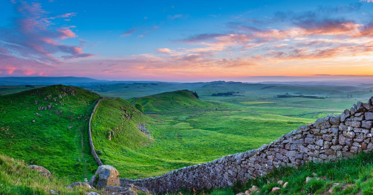 Hadrian's Wall in rural Northumberland